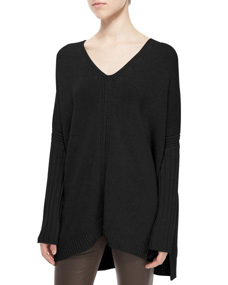 Mixed-Rib Knit Poncho Sweater