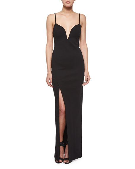Sleeveless Plunging-Neck Gown, Black