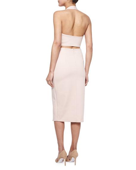 Sleeveless Faux-Wrap Dress, Nude
