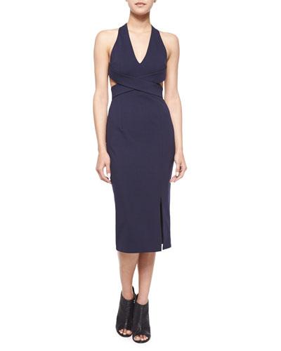 Halter-Neck Crisscross Dress, Navy