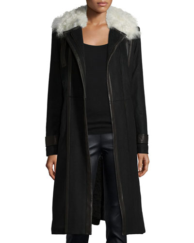 Saul Leather-Trim Wool-Blend Coat, Black