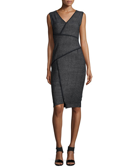 Tahari Woman Angela Sleeveless Sheath Dress W/Contrast Seams,