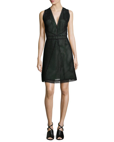 Sleeveless Fit-and-Flare Dress, Onyx