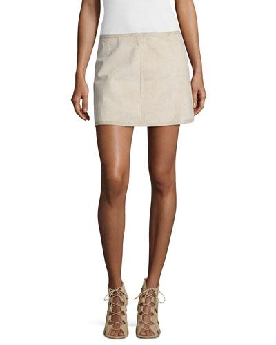 Bonded Tissue-Suede Mini Skirt, Desert