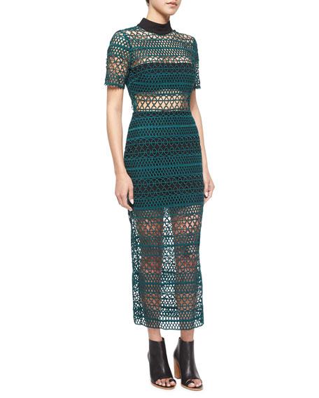 Self Portrait Short-Sleeve Looped Midi Dress, Black/Green