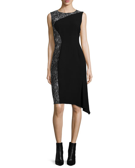 Elie Tahari Wynn Draped-Hem Dress