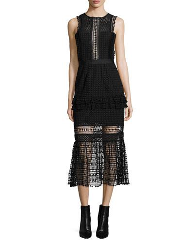 Sleeveless Mesh Ruffle-Trim Midi Dress, Black