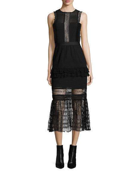 Self-Portrait Sleeveless Mesh Ruffle-Trim Midi Dress, Black