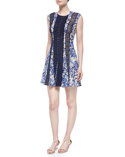 Jalena Floral Fit-and-Flare Dress, Light Lilac/Multicolor