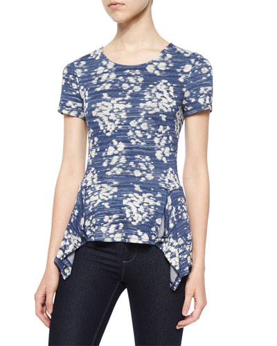 Short-Sleeve Kellsie Floral Knit Top, Vintage Blue