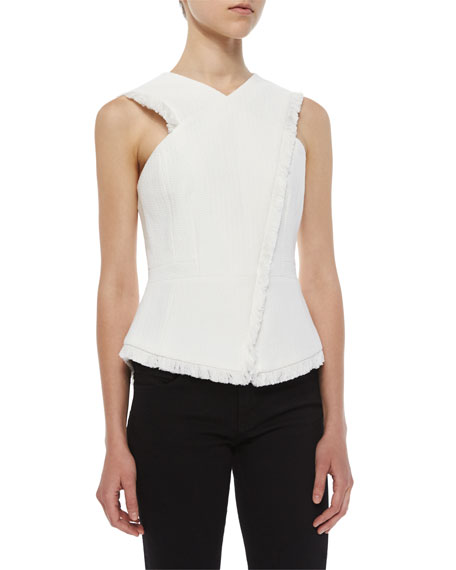 BCBGMAXAZRIAAsymmetric Munson Frayed Woven Top, Off White
