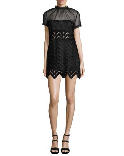 Evie Short-Sleeve Scalloped-Chevron Mini Dress, Black