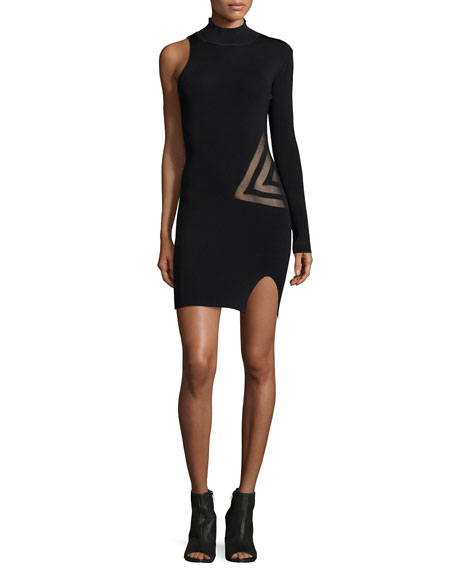 Self Portrait One-Sleeve Mesh-Trim Dress, Black