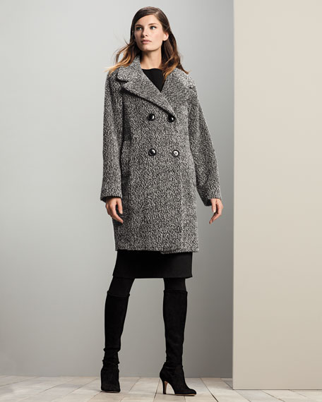 Sofia Cashmere Double-Breasted Cocoon Coat Black/White