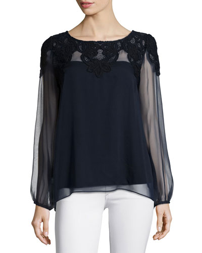Moth Orchid Sheer Lace-Detail Top, Navy