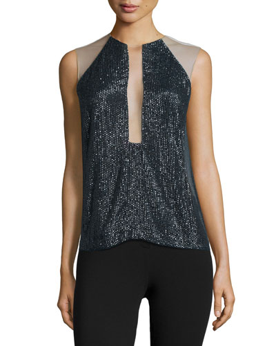 Sleeveless Embellished Top, Slate