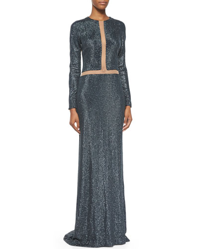 Long-Sleeve Linear Embellished Gown, Slate