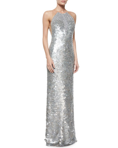 Sleeveless Pave Fishscales Gown, Silver Smoke