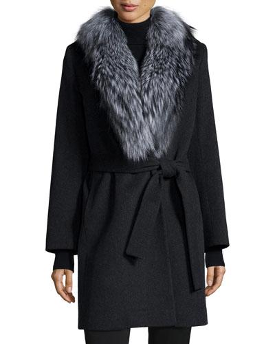 Wool Wrap Coat W/ Fur Collar