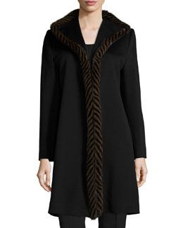 Piped Mink-Trim Wool Coat