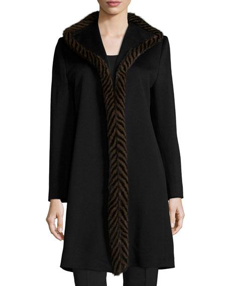 Fleurette Piped Mink-Trim Wool Coat