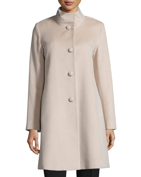 Stand-Collar Wool Coat