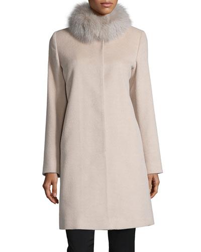 Fur-Collar Wool Coat