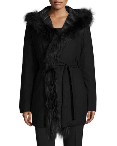 Reversible Plaid Coat W/ Fur Trim
