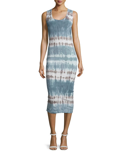 Denny Sleeveless Tie-Dye Dress, Cobalt