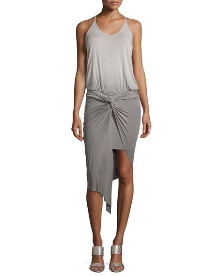 Kulani Sleeveless Twist-Front Dress, Green
