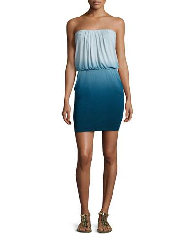 Freya Strapless Dip-Dye Dress, Cobalt Ombre
