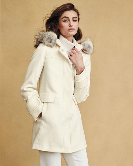 Fleurette Hooded Wool Duffle Coat with Fur Trim