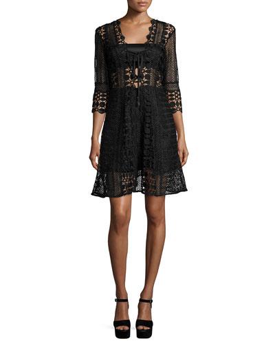 Self Portrait 3/4-Sleeve Guipure-Lace A-Line Dress, Black