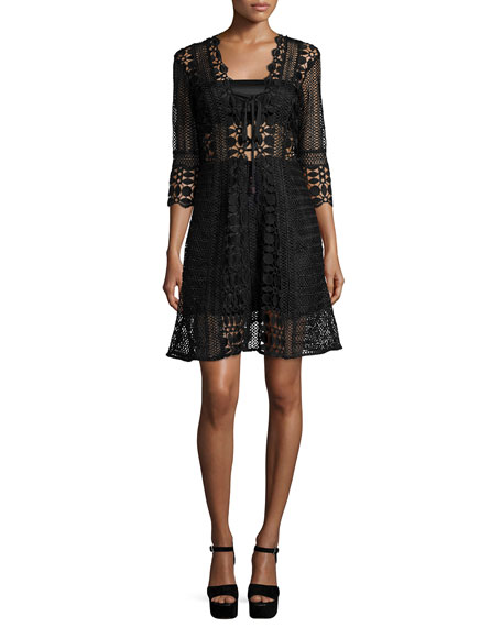 Self Portrait 3/4-Sleeve Guipure-Lace A-Line Dress, Black