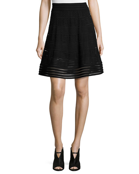 M Missoni Solid Rib-Stitch A-line Skirt