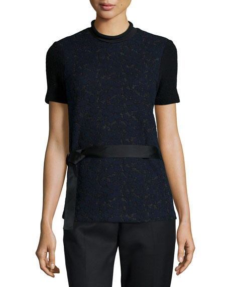 3.1 Phillip LimShort-Sleeve Lace Top w/ Utility Belt