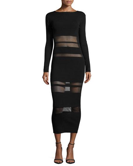 Self Portrait Long-Sleeve Mesh-Trim Midi Dress, Black