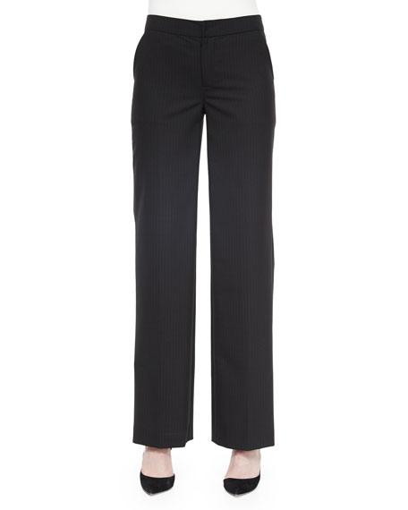 Josie Natori Pinstripe Full-Leg Pants, Black