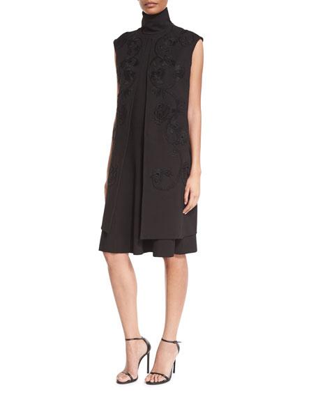 Josie Natori Embroidered Mid-Length Vest, Black