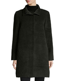 Funnel-Neck Single-Breasted Wool-Blend Coat