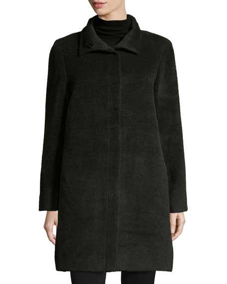 Sofia CashmereFunnel-Neck Single-Breasted Wool-Blend Coat