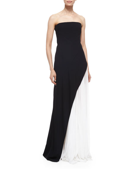 J. Mendel Strapless Asymmetric Pleat Gown, Black/White