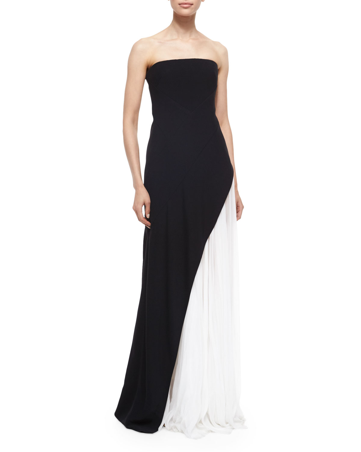 J. Mendel Strapless Asymmetric Pleat Gown, Black/White | Neiman Marcus