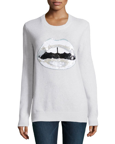 Lara Lip Sequined Sweater, White
