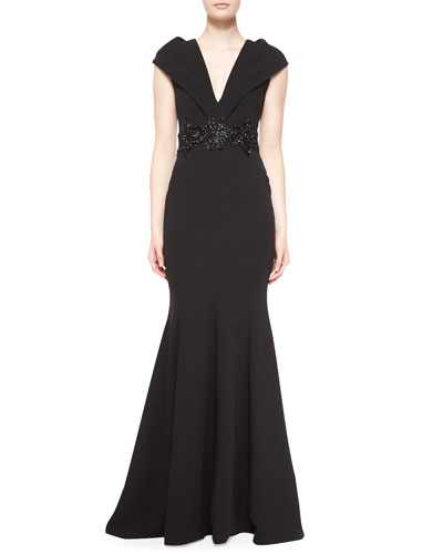 Cap-Sleeve Embellished-Waist Gown, Black