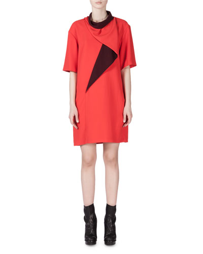 Draped-Neck Two-Tone Shift Dress, Scarlet