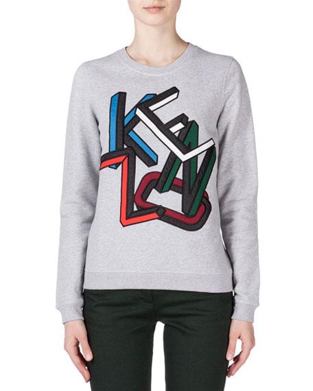 Kenzo Embroidered Kenzo Sweatshirt, Pale Gray