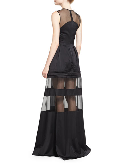 Andromeda Mesh-Inset Gown, Black