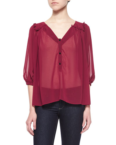 Sheer Chiffon Button-Front Blouse, Wine