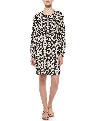 Tribal-Print Shift Shirtdress, Black/White